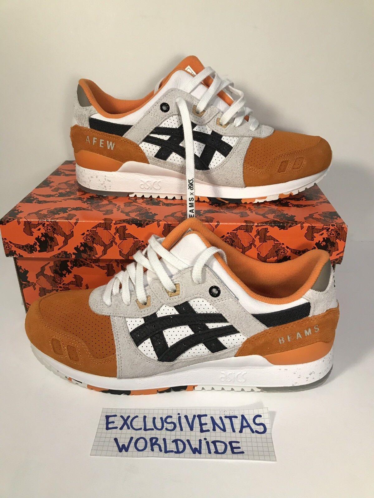 Asics Gel Lyte 3 orange Koi x Afew x BEAMS 11,5 US   10,5 UK W RECEIPT DSWT