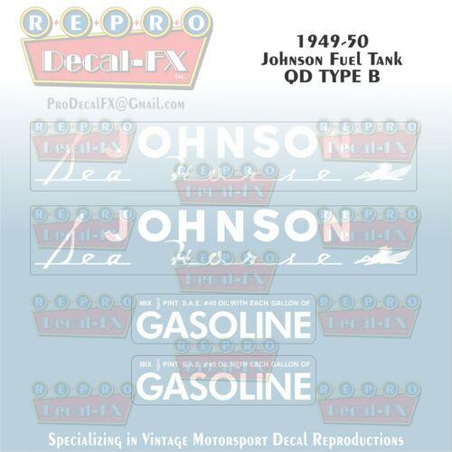 1949-50 Johnson QD Type B Fuel Tank Decals Reproduction 4 Pc Vinyl 49-50JFT-A