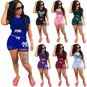 2Pcs-Women-Tracksuit-Set-Summer-T-Shirt-Top-amp-Cut-Out-Shorts-Pants-Casual-Suit