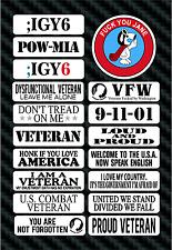 COMBAT VETERANS Motorcycle Helmet Decals - POW MIA - ;IGY6 PTSD - INFIDEL - VFW