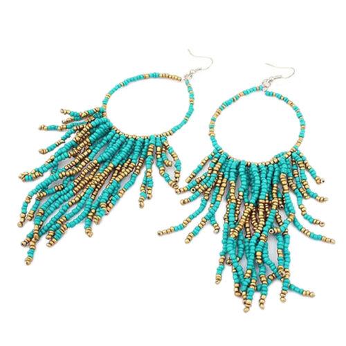 Classique Bohême Franges longue section de Grandes Perles Pendentif Boucles D/'oreilles Pendantes Cadeau USA