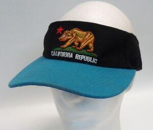California-Republic-Bear-Logo-Embroidered-Visor-Cap-Adjustable-Strapback-Black