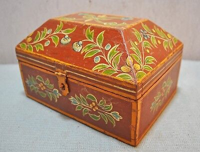 Vintage Wooden Jewellery Box Original Old Hand Crafted Painted