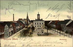 Storkow-Mark-Brandenburg-1907-Marktplatz-mit-Kirche-Geschaefte-May-Markt-gelaufen