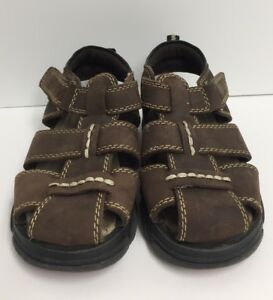 85d00a0bbb7 Buster Brown Boys Size 10M Brown Fisherman Sandals Closed Toe Easy ...