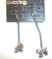 Chico's Earrings Pierced Gunmetal W/ Gold & Silver Beads & Crystals Dangle
