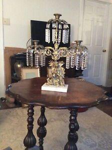 Antique-Girandole-3-candlestick-Colonial-couple-CUT-Glass-Prisms-Lusters-Bronze