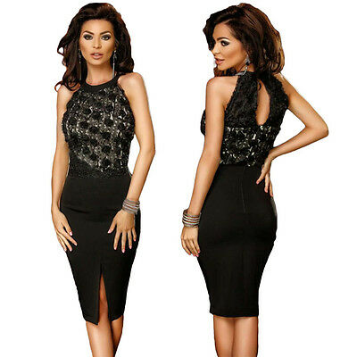 Sexy Black Rose Lace Keyhole Top Midi Spilt Bodycon Cocktail Party Club Dress
