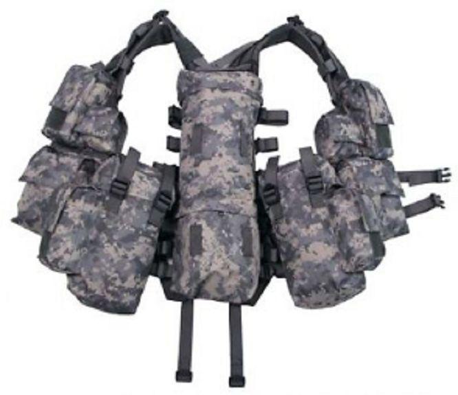 US ACU Tactical Combat Weste Army Gotcha Paintball Vest w 12 Taschen pouches