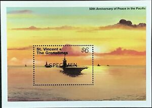St-Vincent-2086-MNH-S-S-Specimen-CV-10-50-D-Day-Battleship-50th-Anniv-Peace