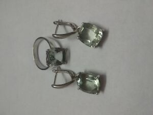Green-Amethyst-Natural-Gemstone-925-Sterling-Silver-Earring-Ring-Size-8