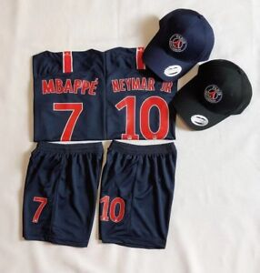 pretty nice 2ac7f c61fe Details about Express 2019 Kids Soccer Jersey PSG Home #10 NEYMAR #7 MBAPPE  Kit Top+Short Cap
