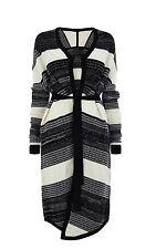 Karen Millen Nuevo Negro Blanco formaría Punto Grueso Cardi Chaqueta Abrigo S 8 10 12
