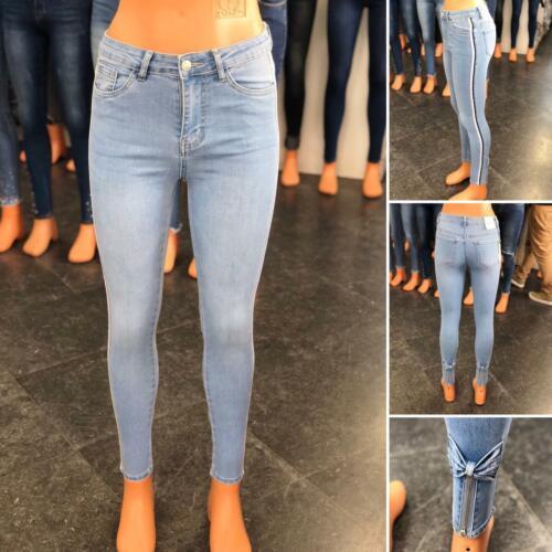 Women High Waist Stretch Skinny Slim bottom butterfly zip Pants denim Jeans Jegg