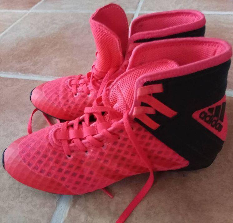 ADIDAS Scarpe Rosso Nero Boxe Stivali 24.5 cm 39