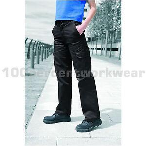 Warrior-Ladies-Womens-Polycotton-Cargo-Pocket-Work-Trousers-Navy-Blue-or-Black