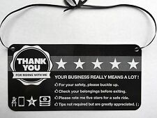 Uber Lyft generic headrest hanging display sign to maximize tips and ratings