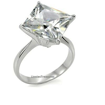 Large CZ Ring 12 mm x 12mm Princess Stainless Steel Engagement size 9 or 10