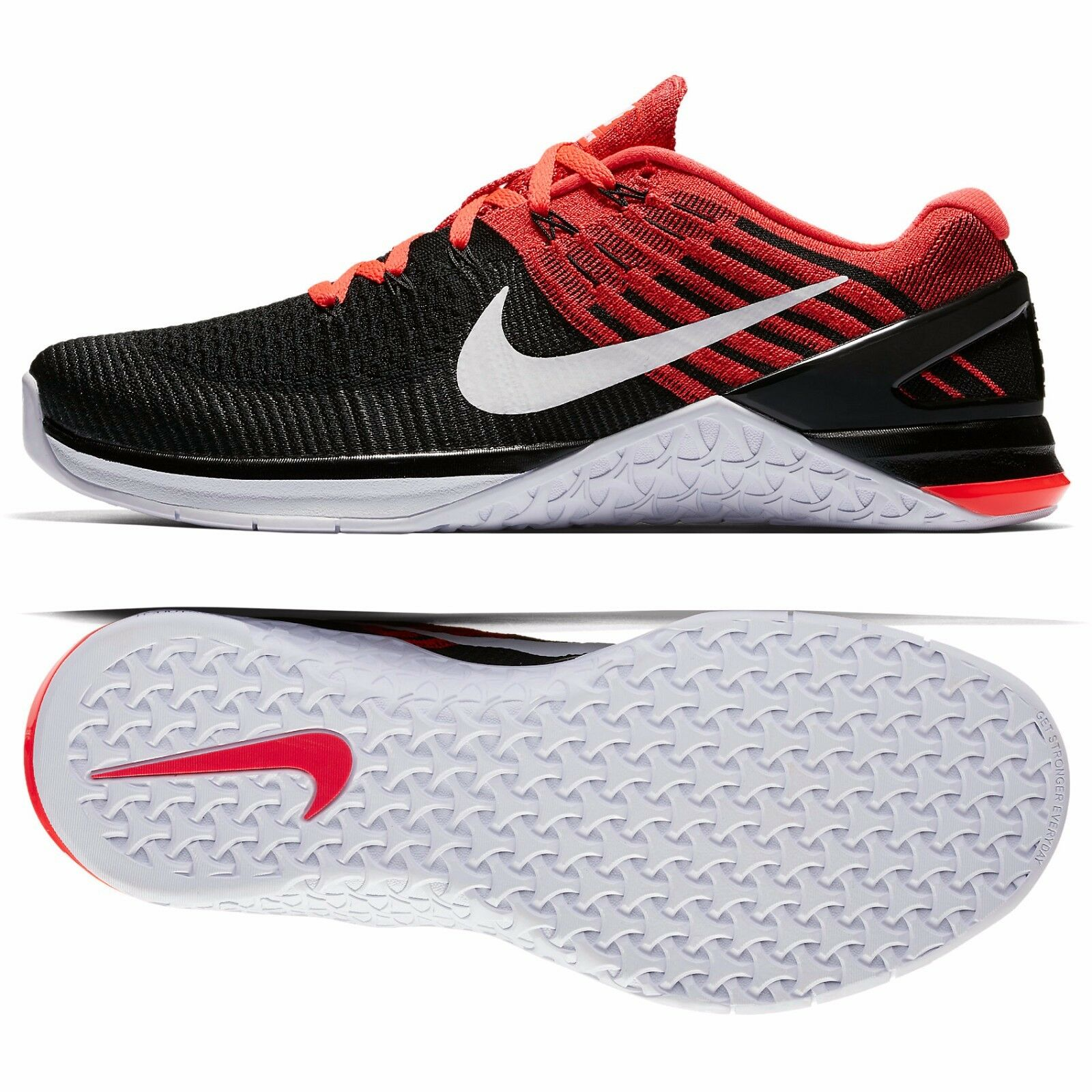 Nike Metcon DSX Flyknit 852930-009 Noir Blanc pourpre Hommes formation chaussures Sz 10