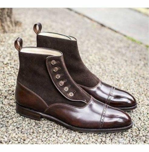 botas para hombre Botón de gamuza marrón de cuero hechos a mano tobillo Ropa Formal Informal Zapato Nuevo