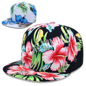 559ae12e677 Image is loading Floral-Snapback-Hat-Flower-Hawaii-Design-Style-Pattern-