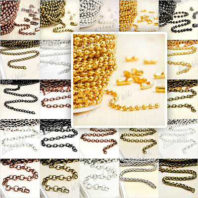 Iron Unfinished Chain Curb Cable Rollo Silver Gold Wholesale Lots Choose