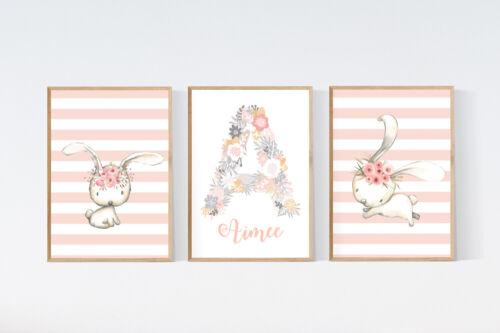 3 Cute Bunny Rabbits Nursery Prints Personalised Baby Name Pink Wall Art Decor