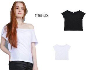 b1904c395b Dettagli su maglia maglietta donna manica corta in cotone mantis t-shirt  spalla scoperta