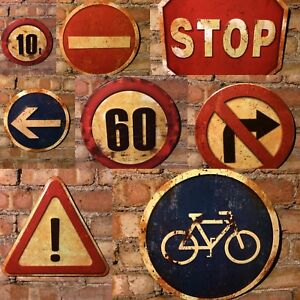 Road Signs Traffic Warning Safety Industrial Vintage Wall Plaques