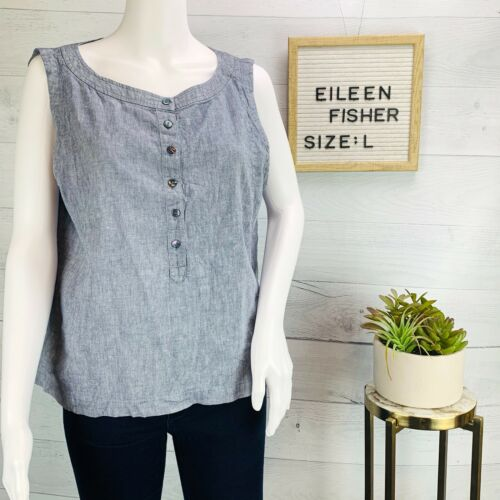 Eileen Fisher Womens Top Blue Chambray Linen Cotto
