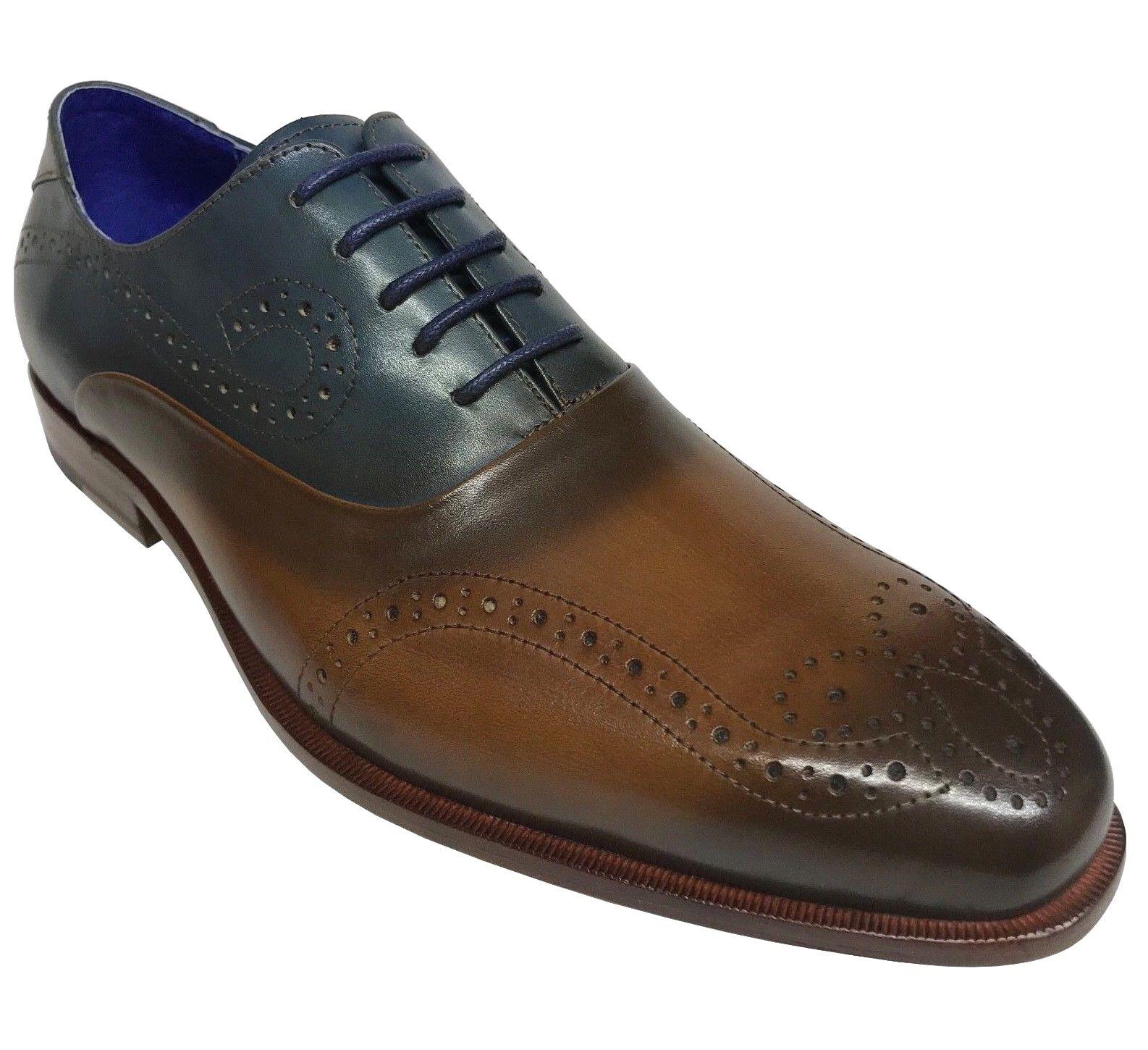 Steven Land Men's Tan Sapphire Genuine Leather Oxford Dress shoes SL0060