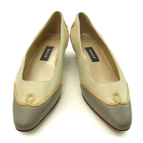 Bally pumps heel Beige Grey Woman Authentic Used Y886