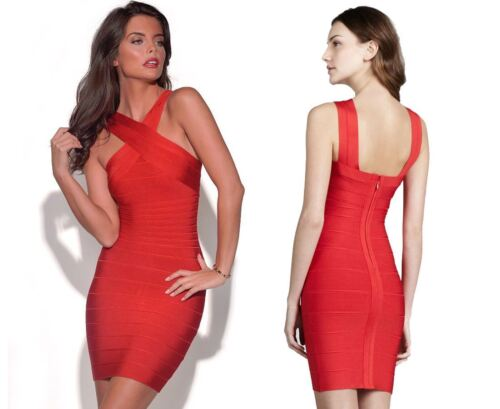 Quality Women/'s Atchara Bodycon Herve Red Celeb Bandage V-Neck Party Mini Dress