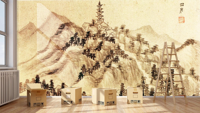 3D Pagode Berg Bäume 85 Tapete Wandgemälde Tapete Tapeten Bild Familie DE Summer  | Queensland  | Konzentrieren Sie sich auf das Babyleben  | Neuankömmling