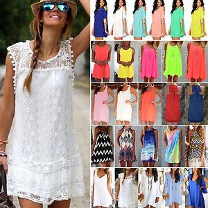 Women-Beach-Short-Summer-Dress-Monikini-Bikini-Cover-Up-Tunic-Party-Boho-Tops-AU