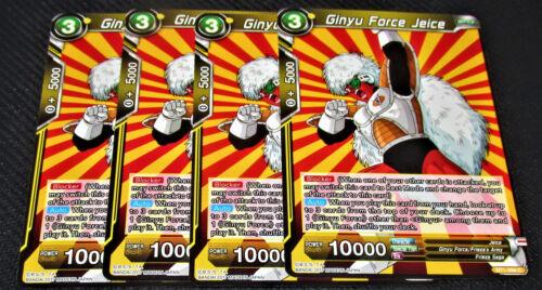 4x Ginyu Force Jeice BT1-098 Common Dragon Ball Super TCG NEAR MINT