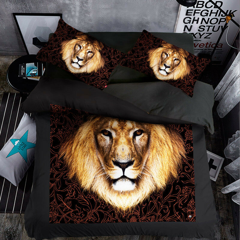 3D Graffiti Lion Kid9 Bed Pillowcases Quilt Duvet Cover Set Single Queen King CA