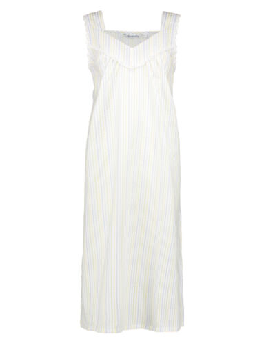Ladies Nightdress Slenderella Seersucker Stripe Broad Strap Nightie Lace Trim
