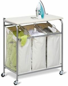 Image Is Loading Rolling Ironing Board Sorter Combo Laundry Hamper Locking