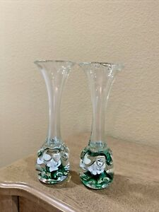 Vintage Pair Of Handblown Art Glass Bud Vases W/Lilies on the Bottom. MINT!!!