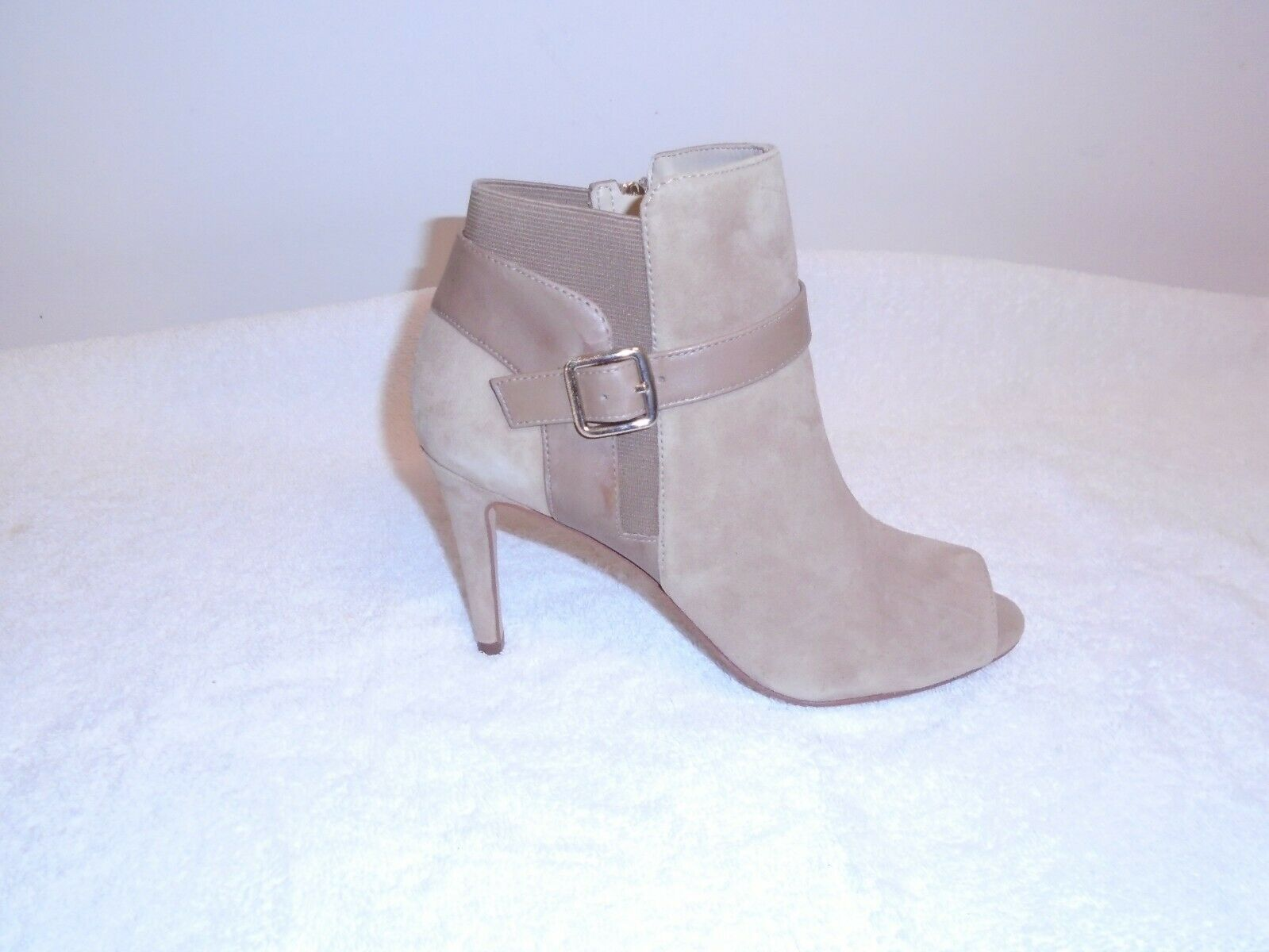 Marc Fisher  Suede Peep-toe Ankle Boots - Shimmee  light natural  10w. new