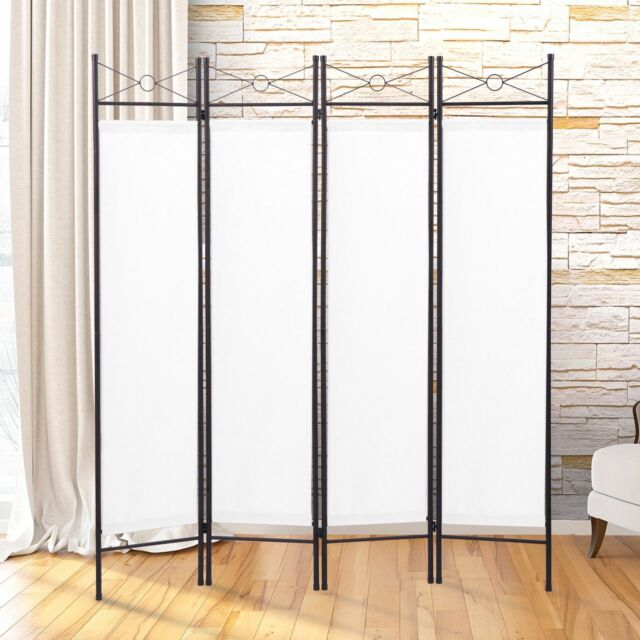 Room Divider Screen Metal Fabric Folding Partition Portable Privacy ...