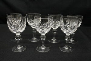 Set-of-7-Stuart-Crystal-REGENT-Pattern-4-7-8-034-Claret-Wine-Glass-4-oz-Glasses
