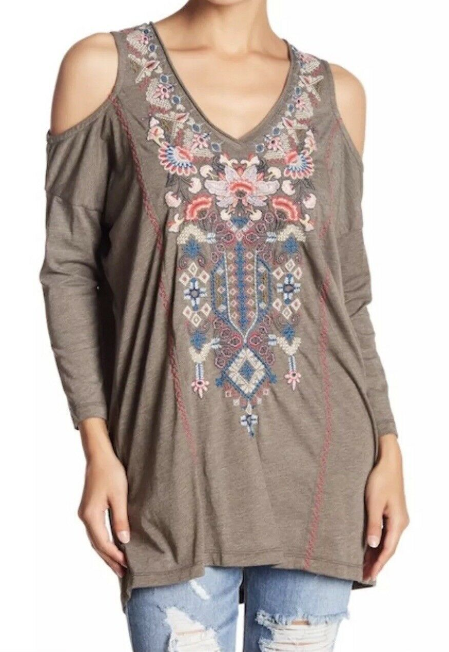 NWT JOHNNY WAS NINDI COLD SHOULDER  EMBROIDErot TUNIC TOP PLUS 2X ARMY Grün