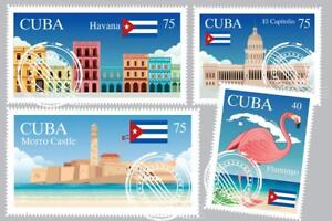 Cuban-Landmarks-Travel-Stamps-Art-Print-Mural-inch-Poster-36x54-inch