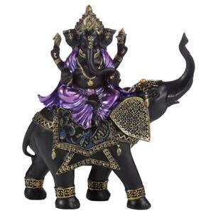 Large Purple & Black Ganesh Statue Riding Elephant - Hindu God Figurine 29.5cm