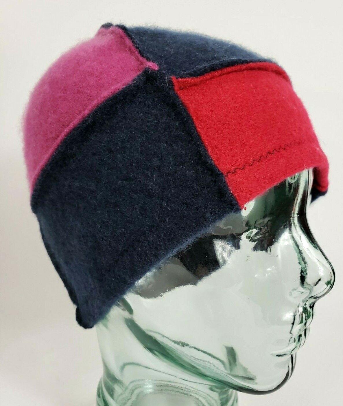 # 100% Pure Cashmere Sombrero Gorro Unisex Azul Marino Rojo Hecho a Mano Regalo A78