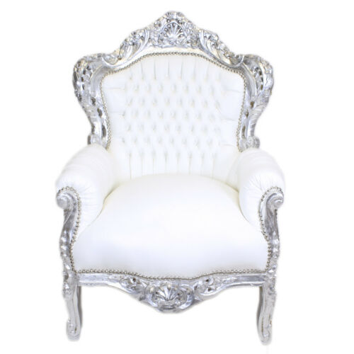 ARMCHAIR - BAROQUE STYLE ARMCHAIR SILVER & WHITE FAUX LEATHER # F30MB140