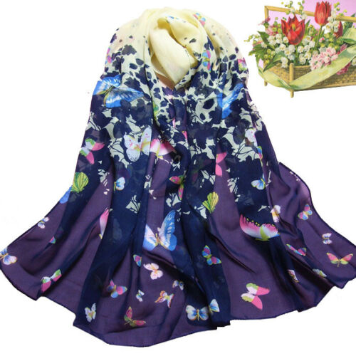 Women Butterfly Printed Flower Soft Muffler Chiffon Scarf Wrap Shawl Salable