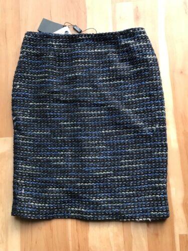 $214 New Serrani Italy 2pc Suit Set Jacket Blazer Skirt Women Blue Black Sz  4 8
